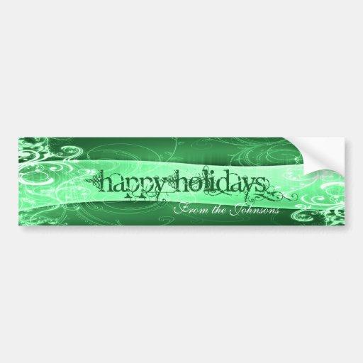 Green Swirl Banner Wine Label Bumper Sticker