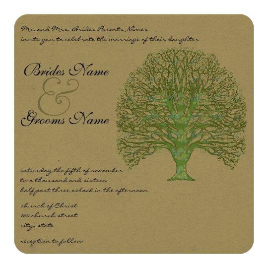 Green Swirl Love Tree Wedding Invitation
