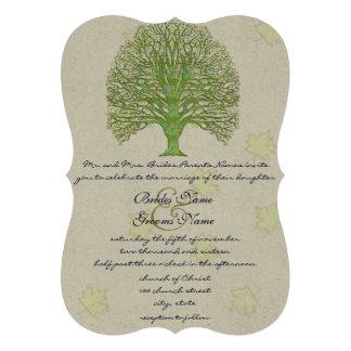 Green Swirl Love Tree Wedding Invitation Leaves