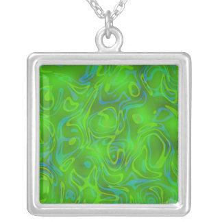 Green swirl square pendant necklace