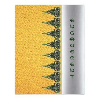 green swirl on yellow engagement invitation