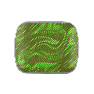 Green Swirl Sequin Effect Jelly Belly Candy Tin
