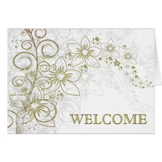 Green Swirl with Flowers Welcome Greeting Card