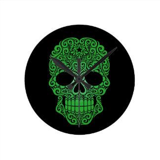 Green Swirling Sugar Skull on Black Round Clock