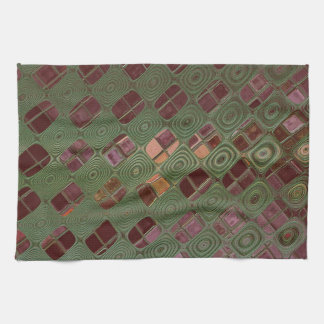 Green Swirls and Earth Tones Tea Towel