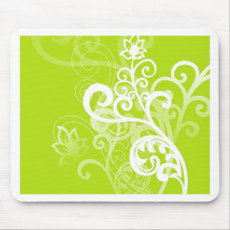 Green Swirls and Flowers Mouse Pad