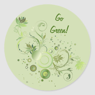 Green Swirls Classic Round Sticker