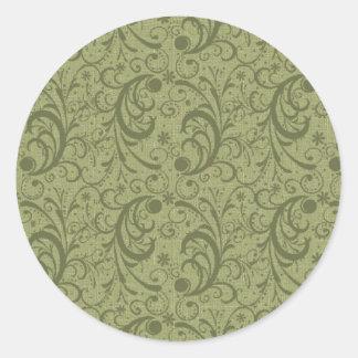Green Swirls Customizable Cards and Postage Round Sticker