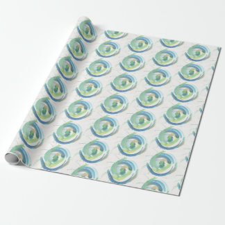 Green Swirls Watercolor Wrapping Paper