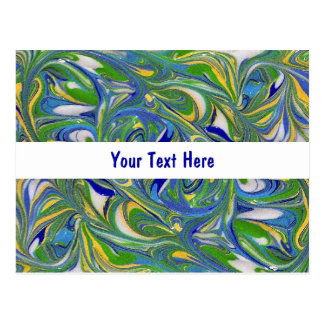 Green Swirls Your Text Postcard