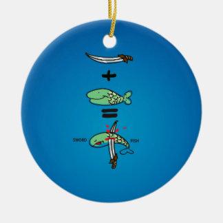 Green Sword Fish Round Ceramic Decoration