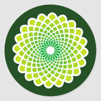 Green Symmetry Round Sticker