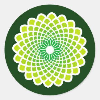 Green Symmetry Round Sticker