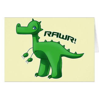 Green T-Rex Card