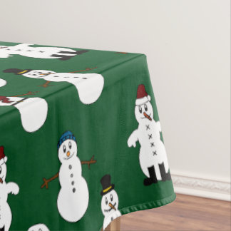 Green Tablecloth white cute snowman Christmas