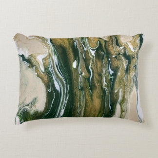 Green & Tan Abstract Accent Pillow