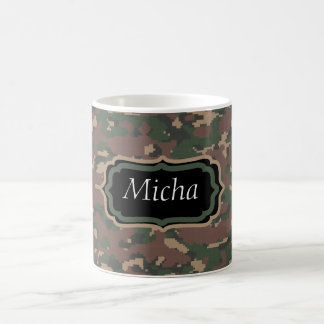 Green Tan Brown Camo Custom Monogram Coffee Mug
