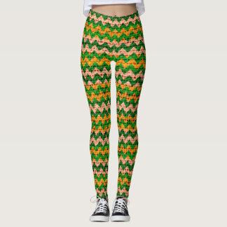Green Tan Yellow Chevron Pattern Burlap Look Leggings