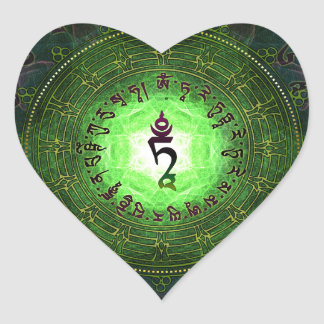 Green Tara - Protection from dangers and suffering Heart Sticker