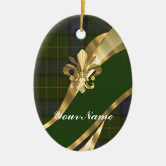 Green tartan & gold ribbon christmas ornament