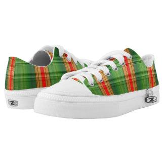Green Tartan Pattern Printed Shoes