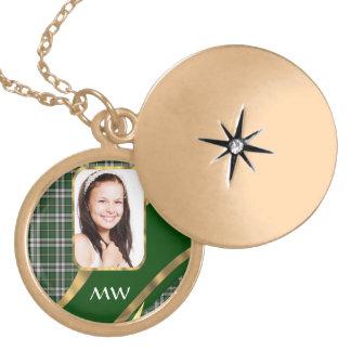Green tartan photo background lockets