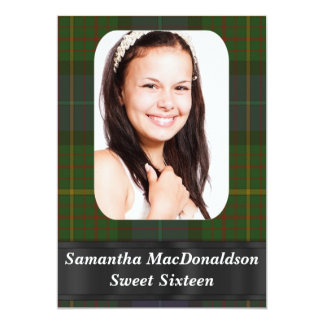 Green  tartan photo template sweet sixteen 13 cm x 18 cm invitation card