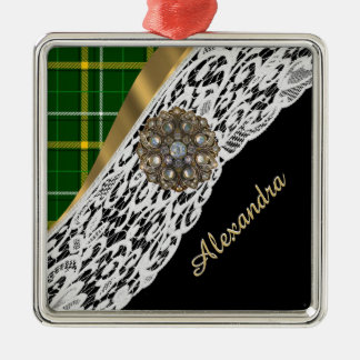 Green tartan plaid and white lace christmas ornament