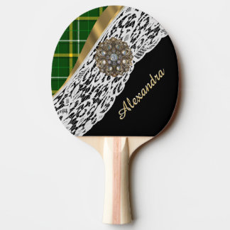 Green tartan plaid and white lace ping pong paddle