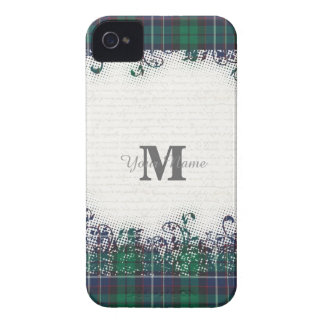 Green tartan plaid personalized monogram Case-Mate iPhone 4 case
