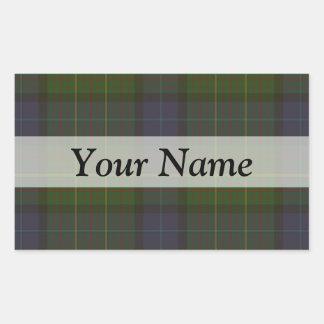 Green tartan plaid rectangular sticker