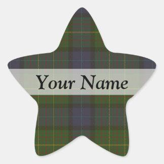 Green tartan plaid star sticker