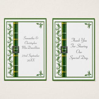Green tartan plaid wedding thank you tag