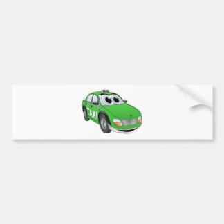 Green Taxi Cab Cartoon Bumper Sticker