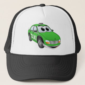 Green Taxi Cab Cartoon Trucker Hat