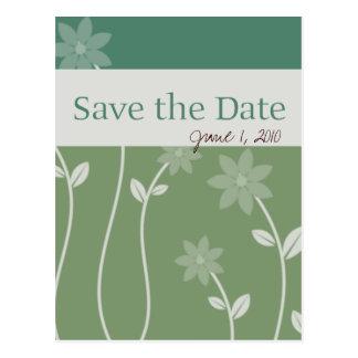 Green Tea Bloom Save the Date Postcard