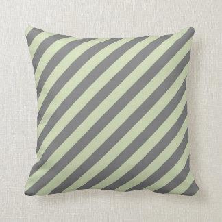 Green Tea & Grey Diagonal Stripes Pillow