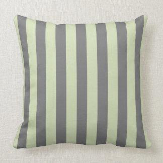Green Tea & Grey Stripes Pillow