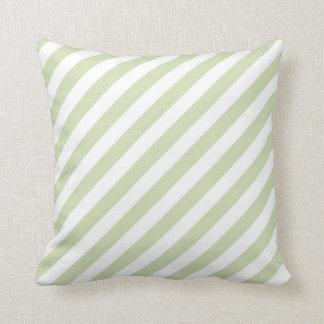 Green Tea & White Diagonal Stripes Pillow
