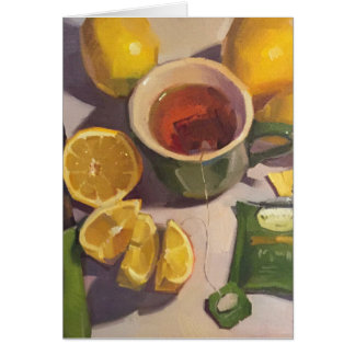 """Green Tea With Lemons"" Blank Art Card"
