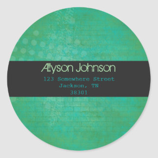 Green &Teal Background Address Labels Round Stickers