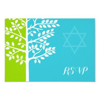 Green Teal Blue Tree of Life Bat Mitzvah RSVP 9 Cm X 13 Cm Invitation Card