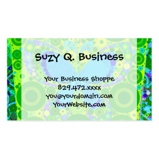 Green Teal Butterfly Concentric Circles Mosaic Pack Of Standard Business Cards