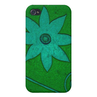 green teal flowers case for the iPhone 4