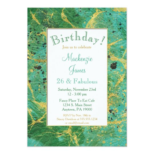 Green Teal Gold Abstract Birthday Invitation