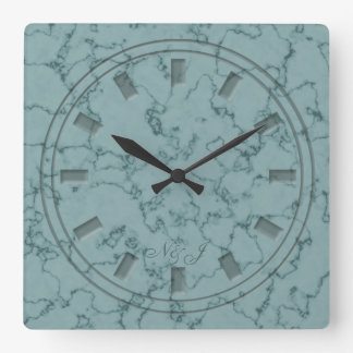 Green Teal Marble Effect Wall Clock