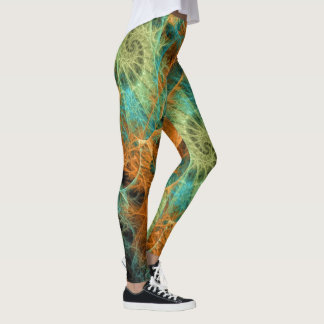 Green Teal Swirl Gold Fractals Leggings ★Psydefx★