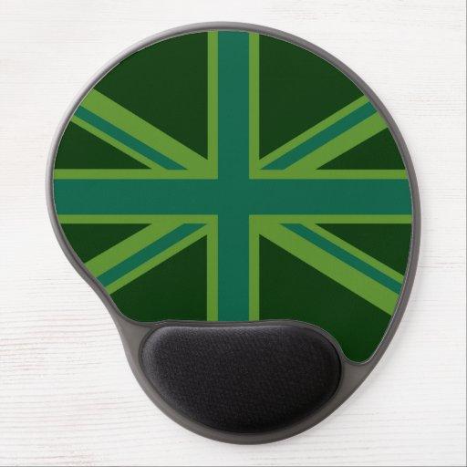 Green Teal Union Jack British Flag Background Gel Mousepad