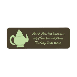 Green Teapot Return Address Label