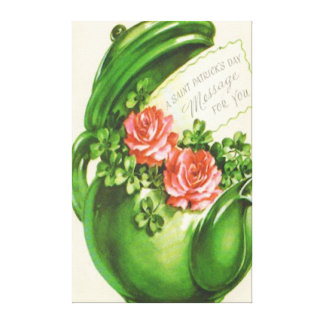 Green Teapot Rose Shamrock St Patrick's Day Gallery Wrapped Canvas